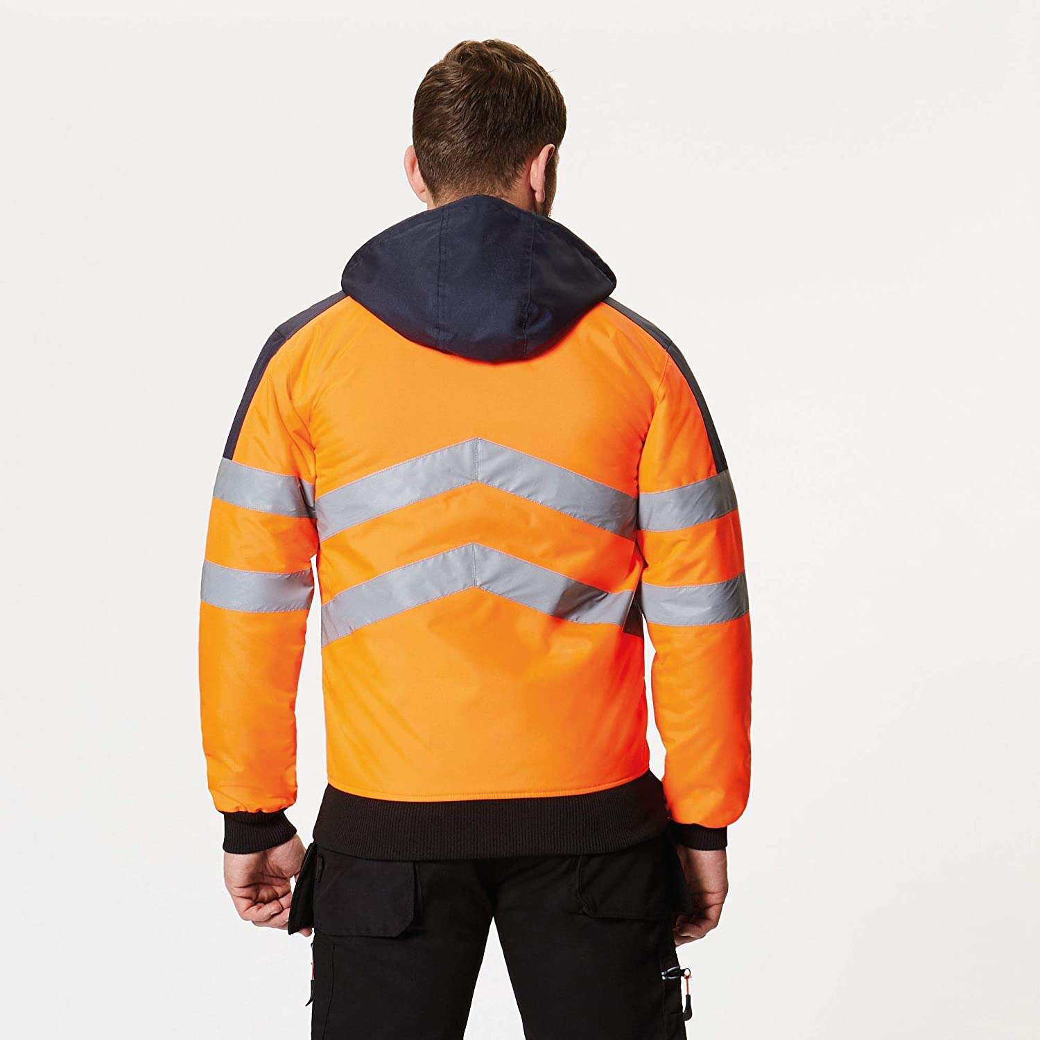Orange//Navy S Regatta TRA314 5LV50 Professional Hi-Vis Pro Waterproof and Breathable Insulated Bomber Jacket