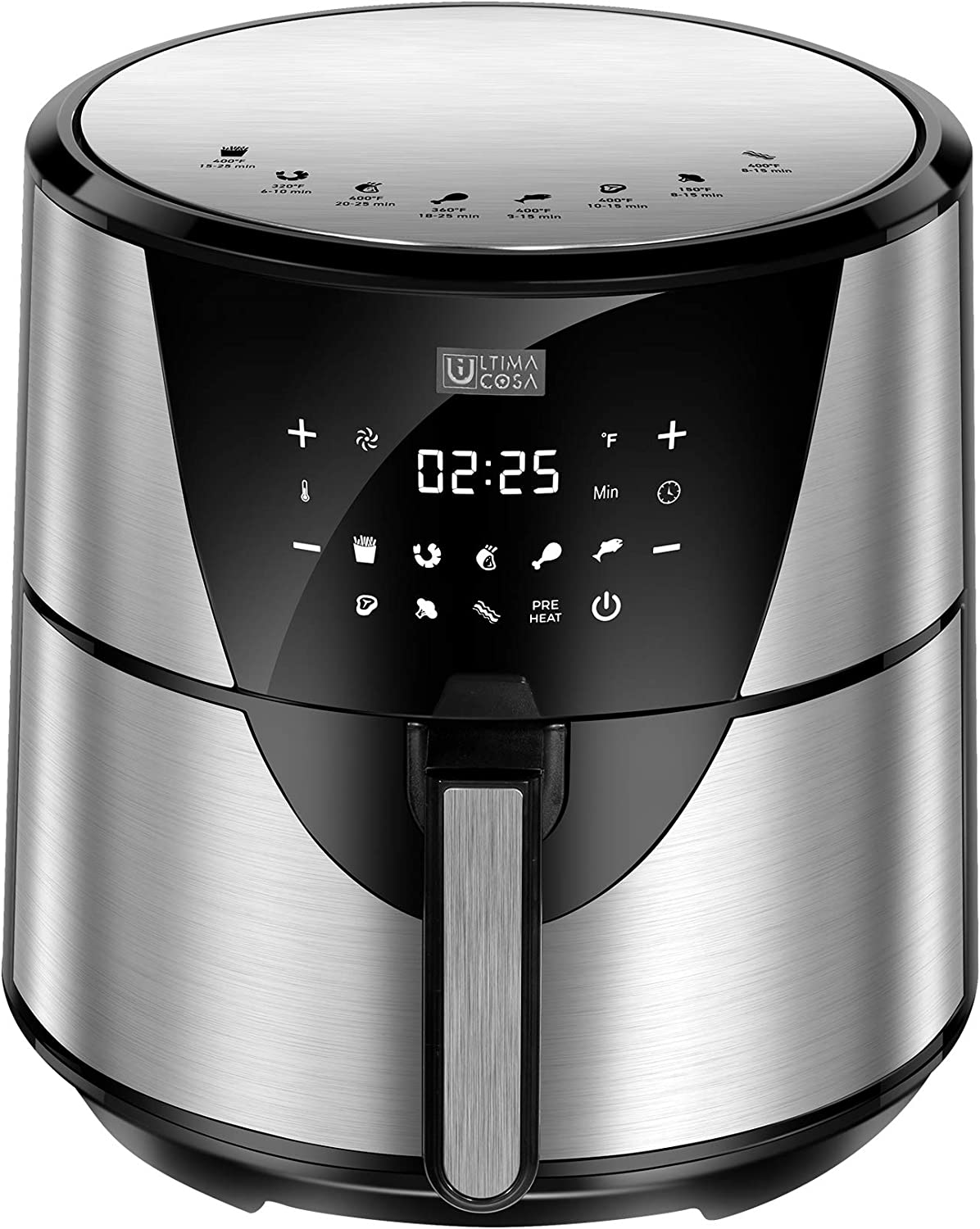 Ultima Cosa Air Fryer, 8.5QT Oil Free XL Electric Hot Air Fryers Oven, Programmable 9-in-1 Cooker with Preheat & Dryout, Equipped Digital Touchscreen and Nonstick Basket, English and French Manual , 1700W