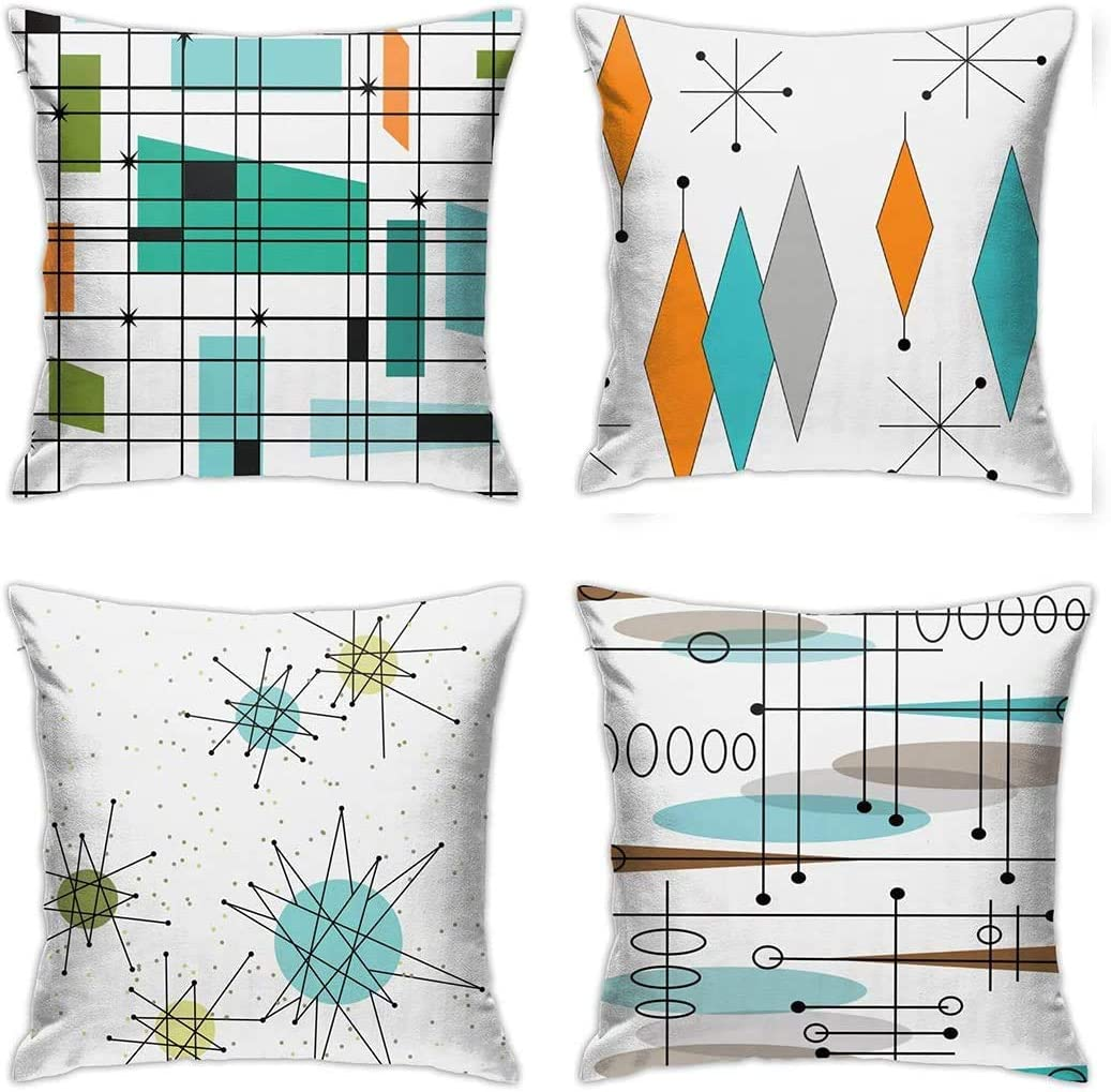ABSOP Mid Century Pillow Covers 18 x 18 Set of 4 Midcentury Modern Throw Pillow Cover Teal Grid PillowcaseAtomic Starburst Orange Pillow Cases Home DecorCushion Covers