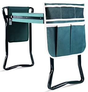 Ohuhu Upgraded Garden Kneeler and Seat with Thicken & Widen Soft Kneeling Pad, Bonus 2 Large Tool Pouches for Garden Tools, Foldable Sturdy Stools Gardening Tools for Gardeners