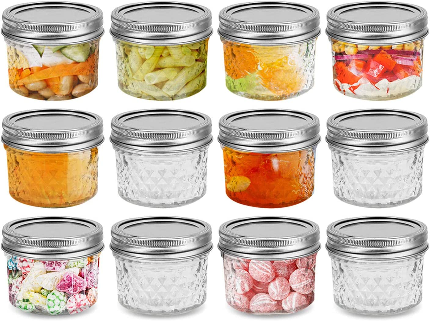 FRUITEAM 4 oz 12 PACK Mini Mason Jars with Lids and Bands, Quilted Crystal Jars Ideal for Food Storage, Jam, Body Butters, Jelly, Wedding Favors, Baby Foods