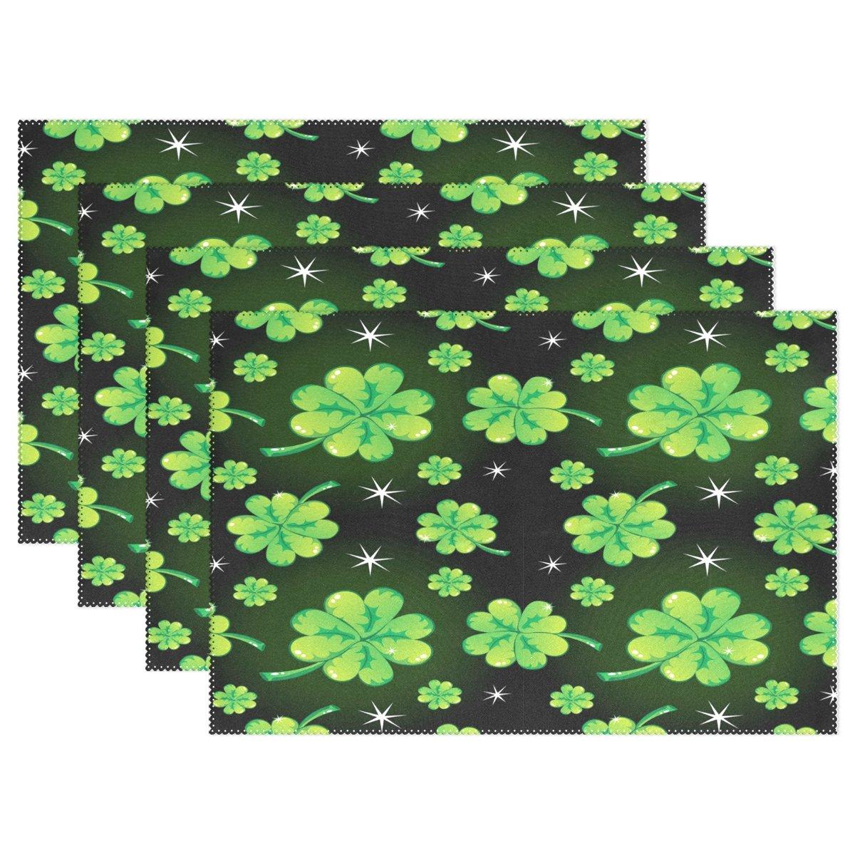 Wozoグリーンシャムロッククローバー聖パトリックの日プレースマットテーブルマット12