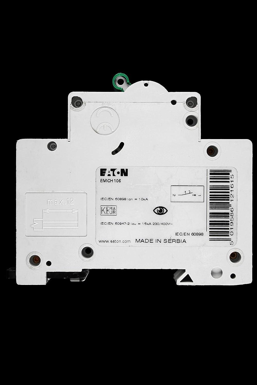 EATON 6 AMP TYPE C 10 KA 230V SINGLE POLE MCB CIRCUIT BREAKER EMCH106 BSEN60898