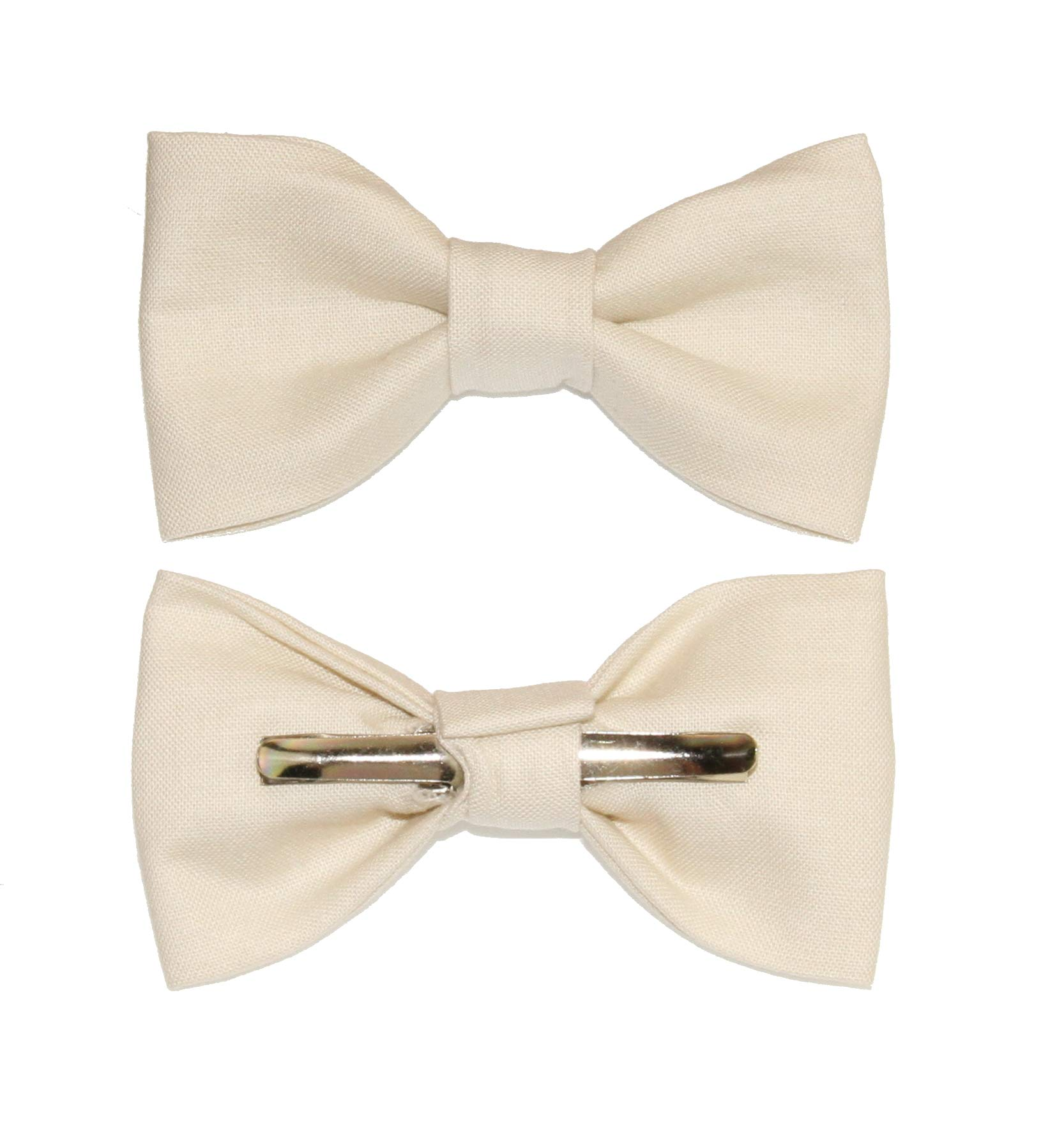 Toddler Boy 4T 5T Ivory Clip On Cotton Bow Tie Bowtie