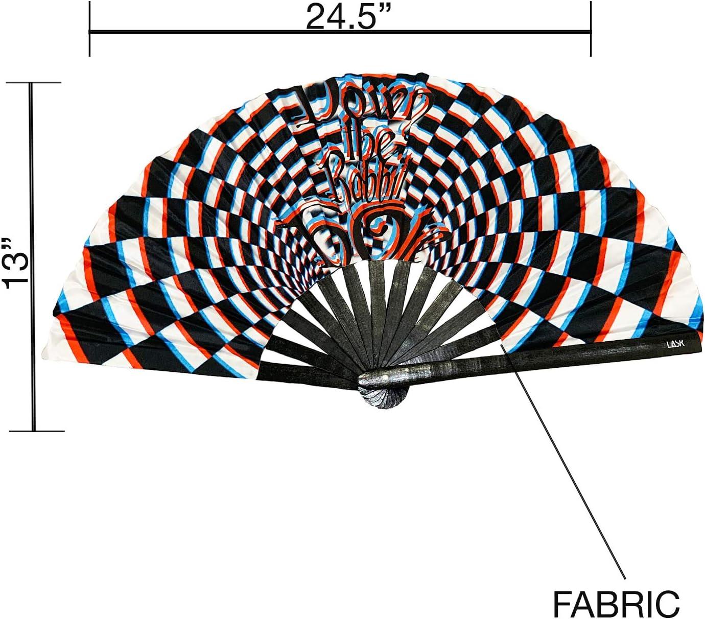 Exclusive LASR Psychedelic Rabbit Festival Hand Fan Multi Rave Gear