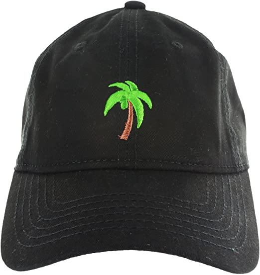 e41472fe76c Dad Hat Cap - Palm Tree Emoji Embroidered Adjustable Black Baseball ...