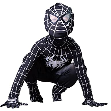 Boys Venom Black Spiderman Costume Kids Superhero Cosplay Spandex Bodysuit (Small)  sc 1 st  Amazon.com & Amazon.com: Boys Venom Black Spiderman Costume Kids Superhero ...