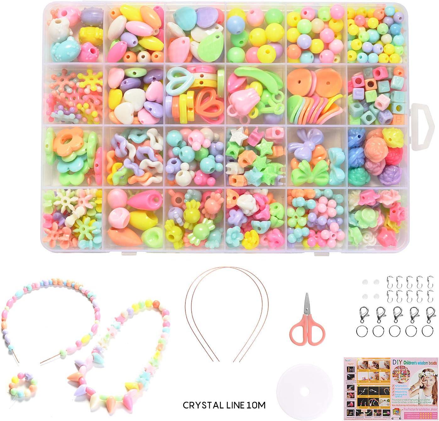 24 Clases Niños Bricolaje Conjunto de Cuentas, Niños DIY Set de Perlas, Cuentas para la Fabricación de Joyas para Niños, Colores Piedras para Niña Regalo Pulsera DIY Haciendo Kit (macarrón)