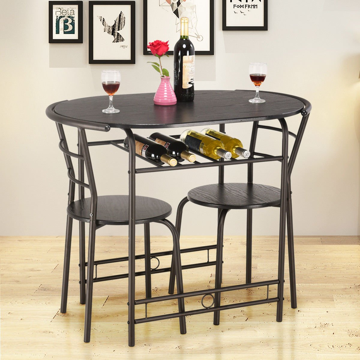 Giantex 3 PCS Dining Table Set w/1 Table and 2 Chairs Home Restaurant Breakfast Bistro Pub Kitchen Dining Room Furniture (Black) by Giantex (Image #2)