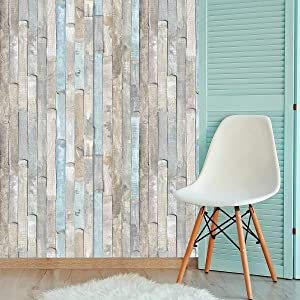 Wood Wallpaper Peel and Stick Wallpaper 17.71 Inch X 236 Inch Self-Adhesive Removable Wood Grain Decoration Film Christmas Wallpaper Decoration