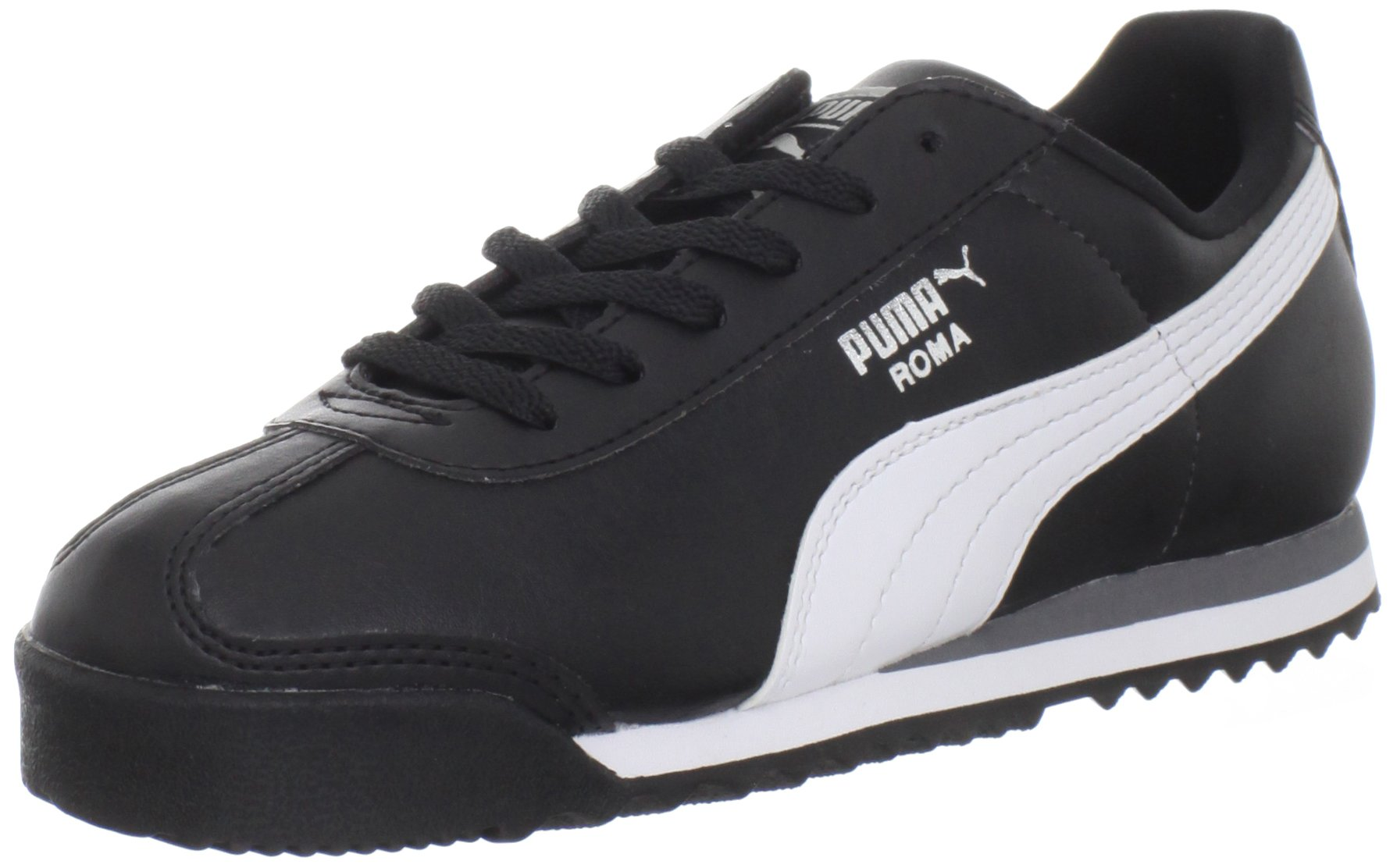 PUMA Roma Basic JR Sneaker (Little Kid/Big Kid) , Black/White/Puma Silver, 1 M US Little Kid