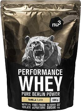nu3 Performance Whey Protein - 1kg de suero en polvo sabor vainilla con 74.9% de proteína - Con aminoácidos BCAAs + proteína isolada (isolate) - ...