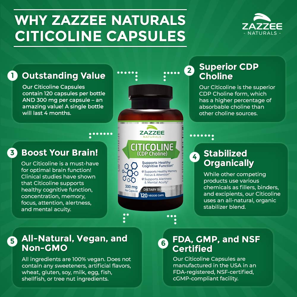 Zazzee Citicoline CDP Choline 300 mg, 120 Veggie Capsules, Vegan, Non-GMO and All-Natural, Pharmaceutical Quality, Contains Organic Stabilizers