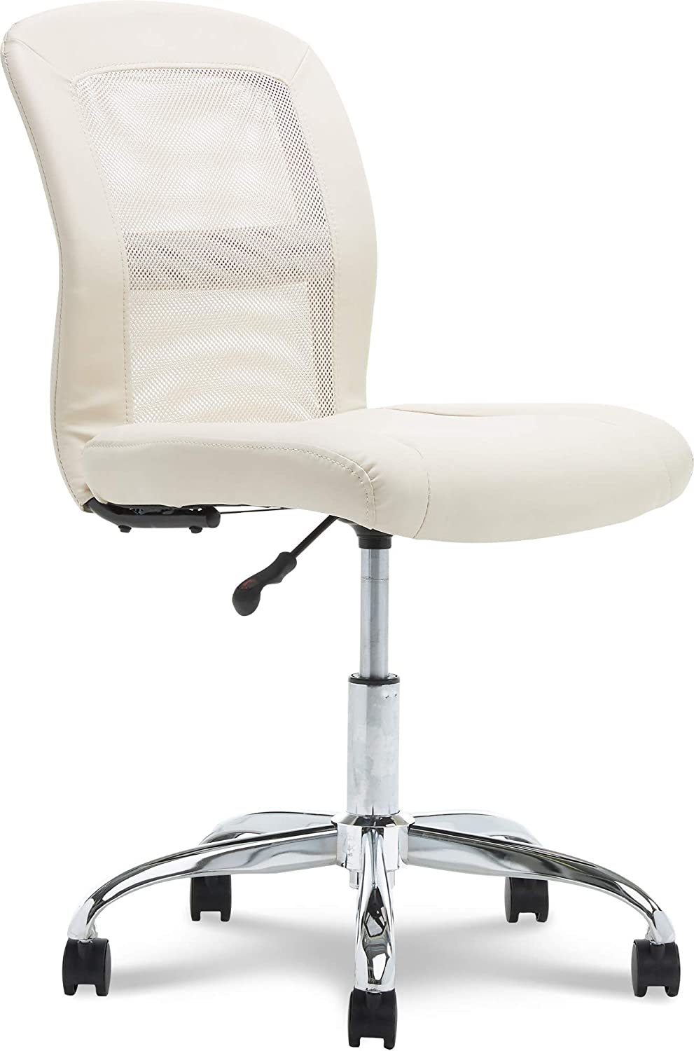 Serta Essentials Ergonomic Armless Low-Back Computer Swivel Task Chair, Faux Leather and Mesh, Cream