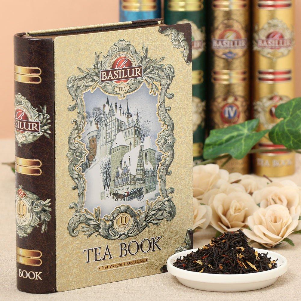 Basilur | Gift Tea Set | Tea Book -Vol 2 | Collectable Metal Tin Caddy | Pure Ceylon Black Tea with fruits| 100g/3.52 oz.