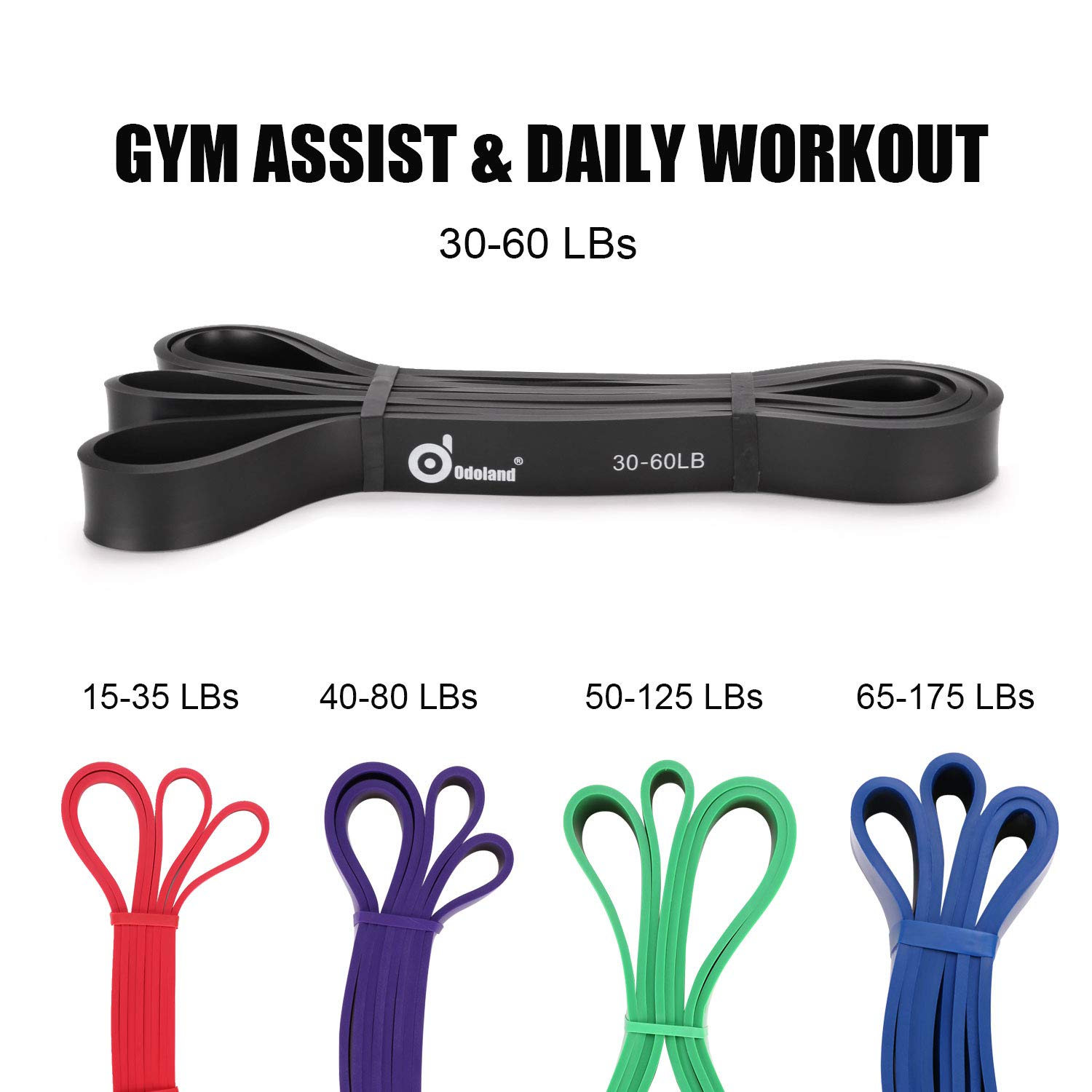 Loop Bands Odoland 16pcs Workout Bands Set Exercise Resistance Bands Kit Include Workout Tubes Door anchor Ankle Straps FREE Training Guide For Fitness Pilates Yoga Strength Gym Handles