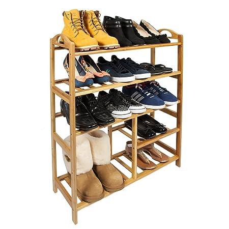 WoodLuv 5 Tier Slimline Bamboo Shoe Rack Stand Organiser/Boot Storage Rack