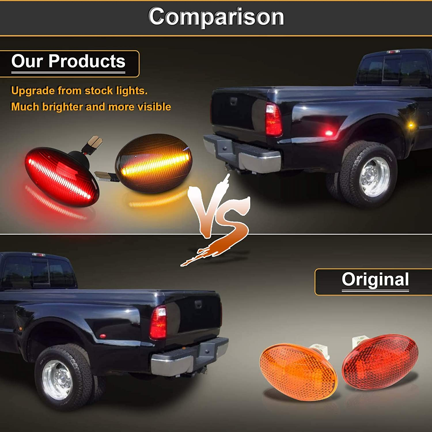 Urite2GO LED Dually Bed Fender Side Marker Lights Lamp 18 LEDs Smoke Lens Replacement Compatible with 1999-2010 F350 F450 F550 Super Duty 2 Amber /& 2 Red Pack of 4