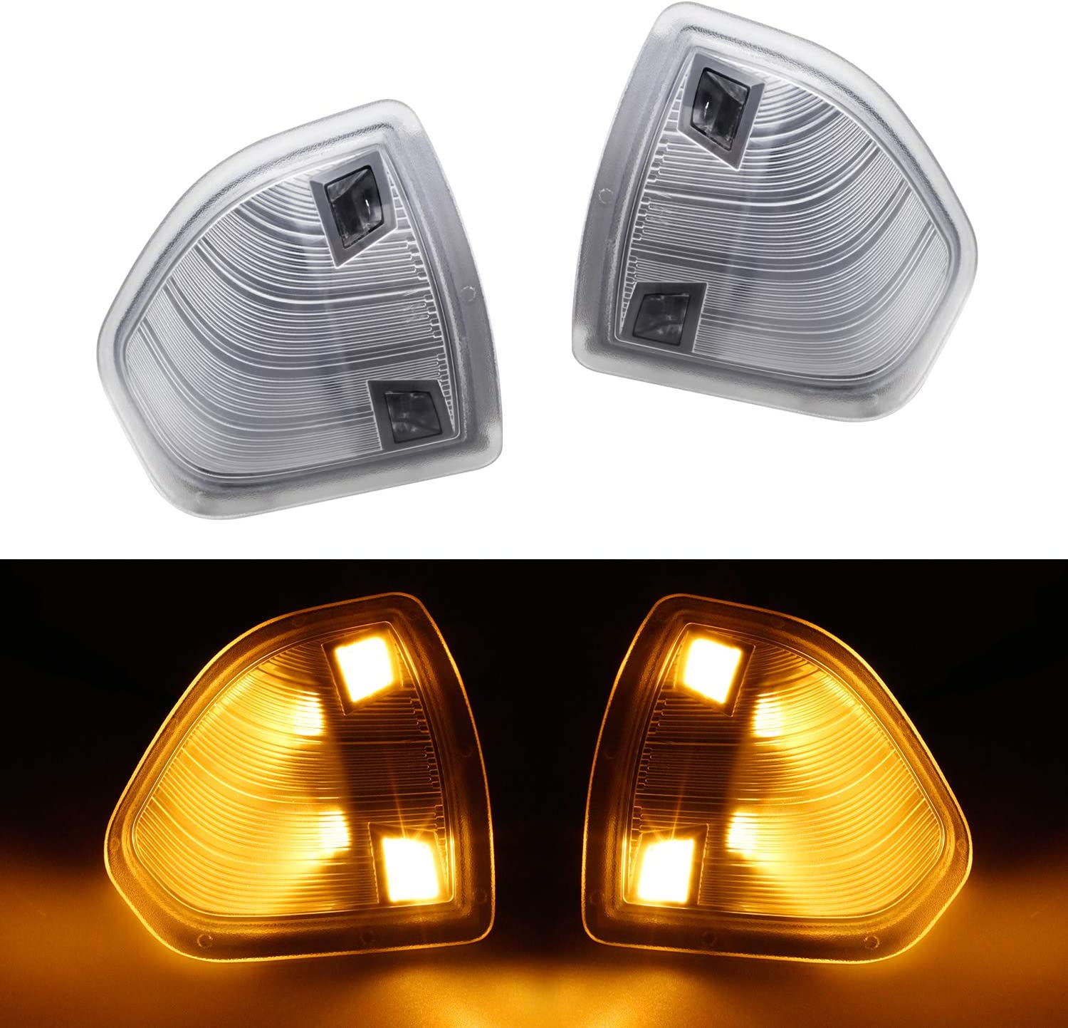 MFC Left /& Right Side Rear View Mirror Turn Signal Lamps Clear Cover Lens Fit For 2010-2018 Dodge Ram 1500 2500 3500 4500 5500 for 68302828AA /& 68302829AA