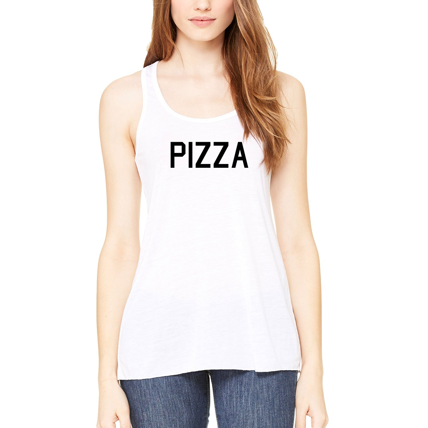 Womens Pizza Lover Foodie Statement Racerback Tank-Top White Casual S-XXL