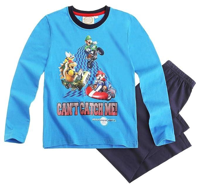 Pijama largo para niño, diseño de Super Mario Bros, color azul/azul marino