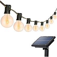 Solar String Lights Outdoor, 26Ft 25 Sockets G40 Hangende Solar Lights, Patio String Lights Commerciële Grade…
