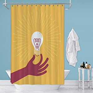 Hitecera Hand Holding Colorful Bulb Stock Illustration USA,Bathroom Decor Set Edison Bulb with Hooks 71 in by 59 in (WxH)