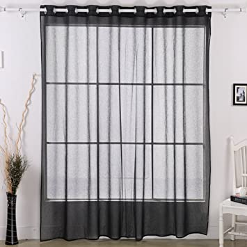 Curtains Ideas black sheer curtain : Amazon.com: Deconovo Grommet Window Sheer Curtain Wide Width Linen ...