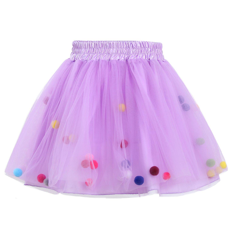 Tutu Skirt GoFriend Baby Girls Tulle Princess Dress 4-layer Fluffy Ballet Skirt with Little Pom Pom Puff Ball (L, Light Purple)