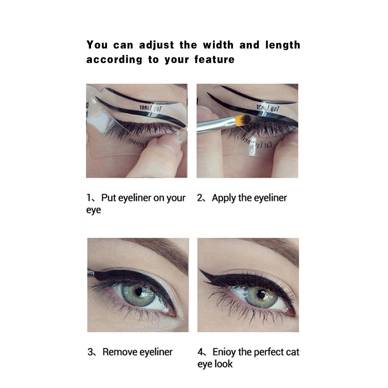 Plantillas para delineado de ojos, ojos de gato y ojos esfumados, 6 unidades: Amazon.es: Belleza