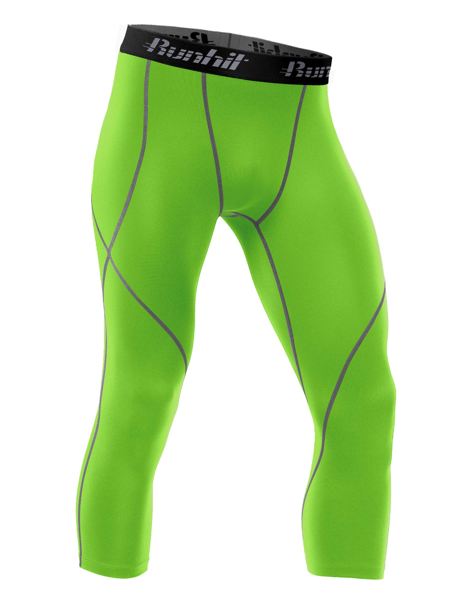 Runhit Mens 3/4 Compression Leggings Pants Capri Shorts Baselayer Cool Dry Sport Tights Fluorescent Green by Runhit