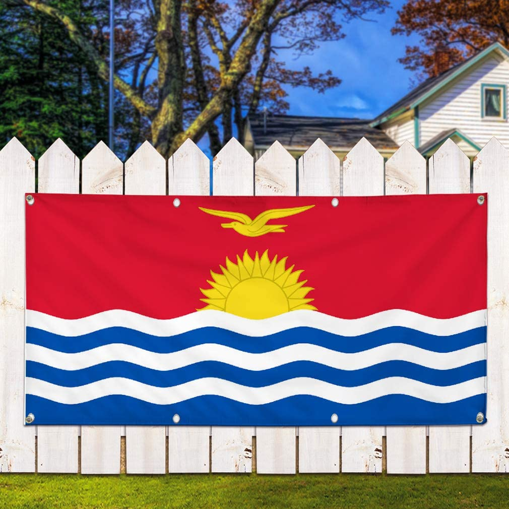 One Banner 8 Grommets 48inx96in Vinyl Banner Sign Kiribati Flag Red Yellow White Blue Marketing Advertising Red Multiple Sizes Available