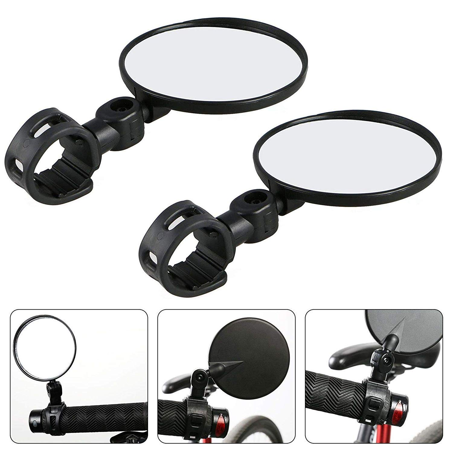 Universal Mini Rotaty Rearview Handlebar Mirror For Bike Bicycle Cycling