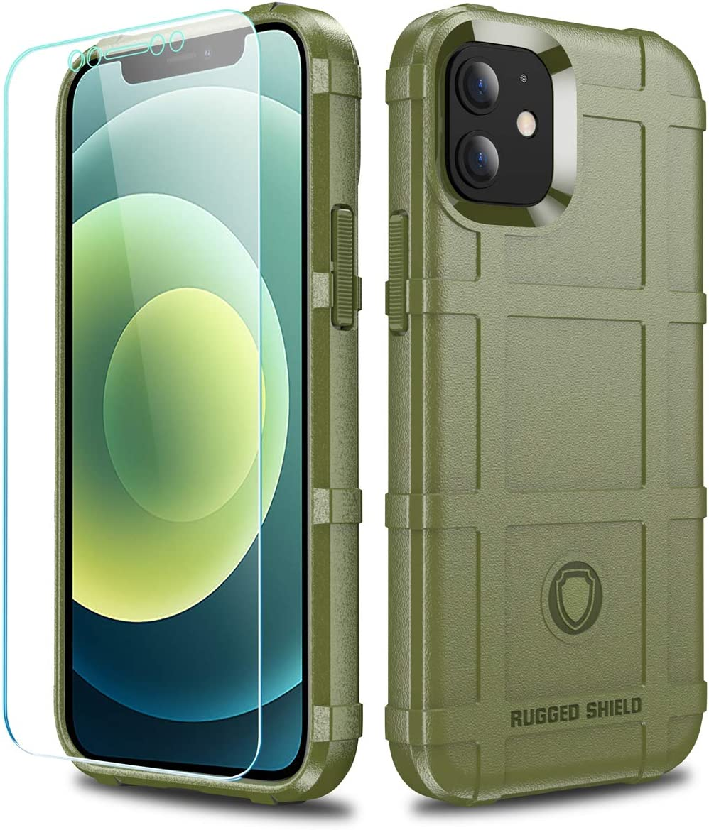 iPhone 12 Mini case, LABILUS (Rugged Shield Series) TPU Thick Solid Armor Tactical Protective Cover Case for iPhone 12 Mini (5.4 inch) - Army Green