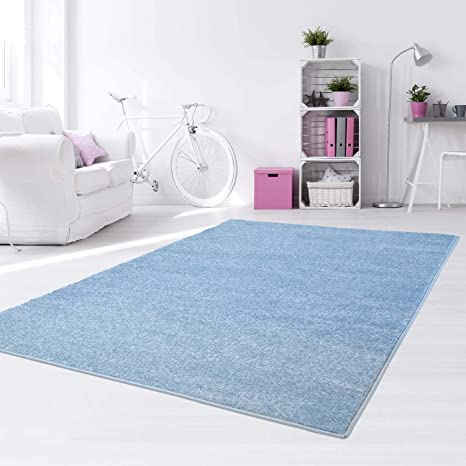 Taracarpet Kinder Teppich Für Das Kinderzimmer Bueno Einfarbig Hochwertig Mit Konturenschnitt Blau Uni 080x150 Cm