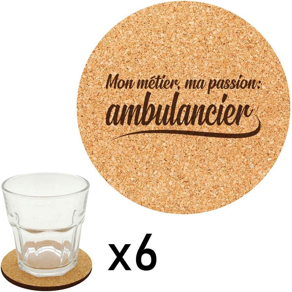 Lot de 6 dessous de verre en li/ège grav/és m/étier passion ambulancier