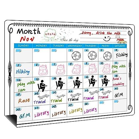 MysDecal Pizarra menú magnética frigorífico calendario planificador, Pizarra Magnética para Nevera 43 x 35 cm con Calendario Semanal para Notas y ...