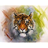 Pitaara Box Airbrush Artwork Of A Tiger Head - LARGE Size 25.6inch x 20inch (65cms x 50.8cms) - UNFRAMED SELF-ADHESIVE PEEL & STICK GLOSSY LAMINATED PVC VINYL WALL STICKERS & WALL DECALS: Wall Paintings: DIGITAL PRINT Wall Posters Artwork like Hand Paintings: Decorative Home Interior Wall Décor Photo Gifts for Bedroom, Living Room, Drawing, Dining Room, Kitchen, Office, Lobby, Bathroom, Hotels, Restaurants, Outdoor & Reception : Animals : Fine Art Reprint