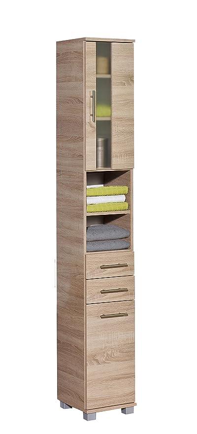Badezimmermöbel Hochschrank Panamaeiche Bad Midischrank Seitenschrank Highboard