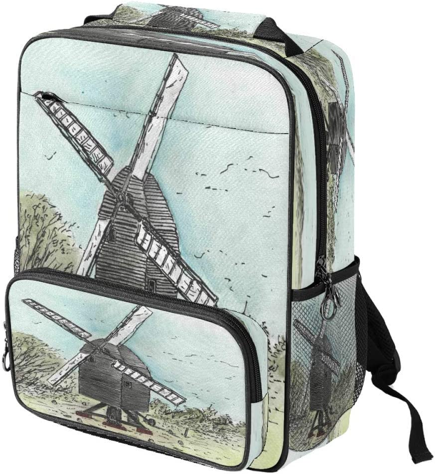 Casual School Backpack Windmill Print Laptop Rucksack Multi-Functional Daypack Book Satchel