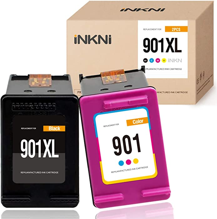 INKNI Remanufactured Ink Cartridge Replacement for HP 901XL 901 XL for Officejet J4680 J4500 J4540 J4550 J4580 J4660 J4680C J4524 J4624 J 4640 (Black, Tri-Color, 2- Pack)