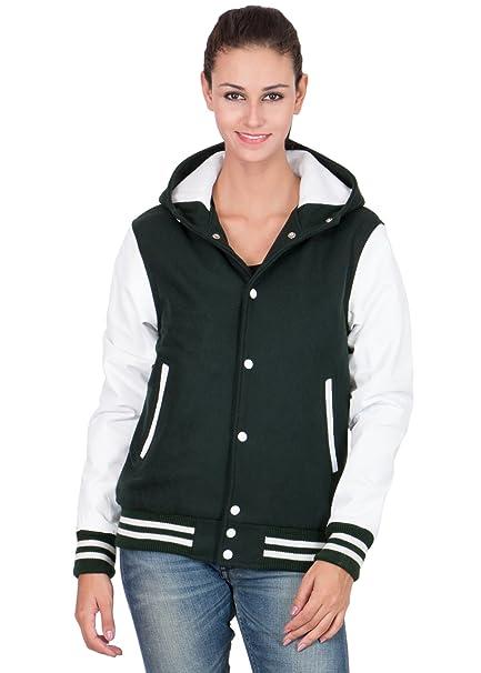 e53e77baf White Leather Sleeves & Darthmouth Green Wool Body Hood Varsity ...