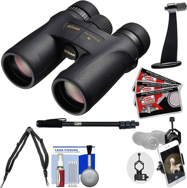 Nikon Monarch 7 10×42 ED ATB Waterproof Fogproof Binoculars with Case Harness Smartphone and Tripod Adapters Monopod Cleaning Kit