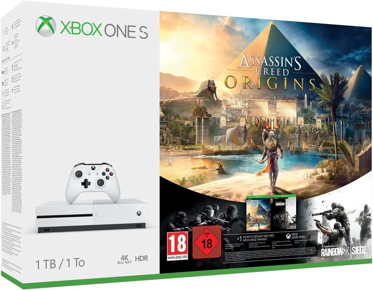 Xbox One S 1TB Console - Assassins Creed Origins Bonus Bundle ...