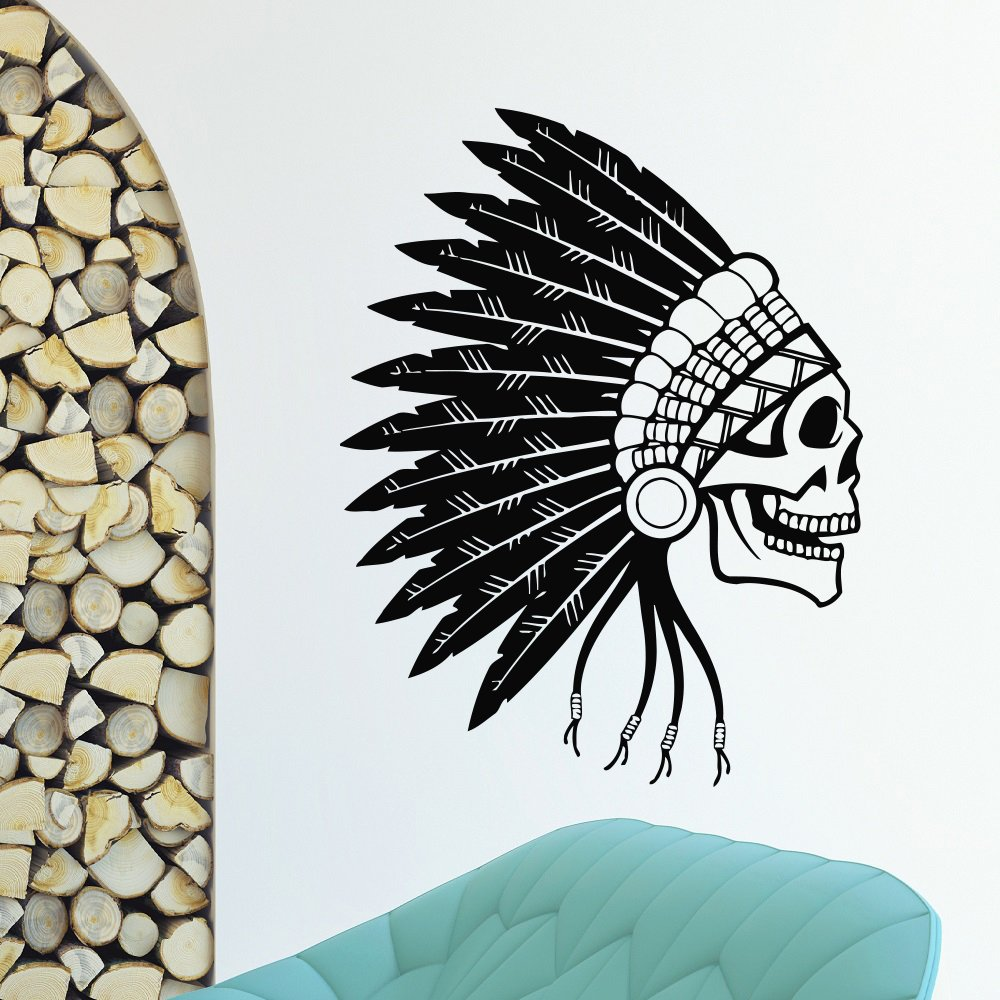Amazon com andre shop wall decal vinyl sticker people native american indian skull tribal decor ssx6b4 home kitchen