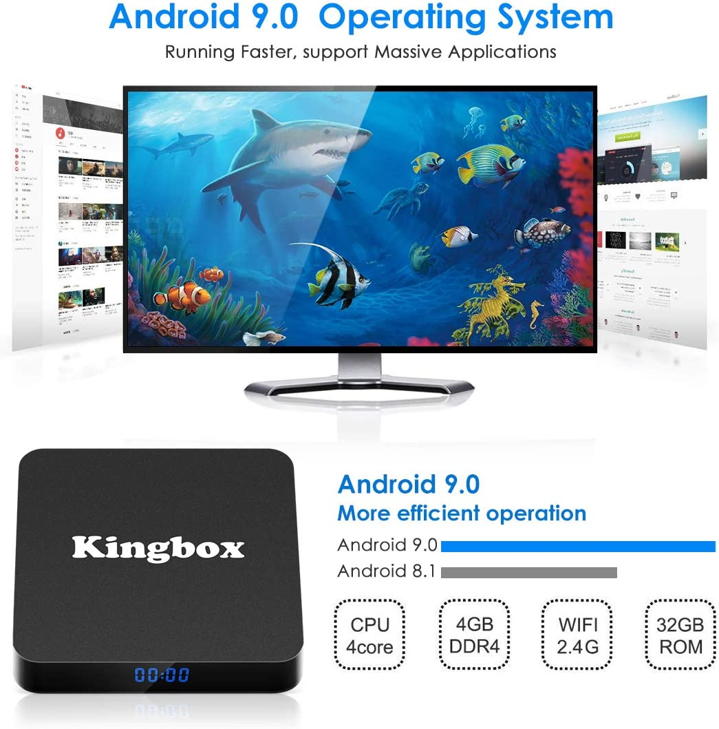 Android 9.0 TV Box [4GB RAM+32GB ROM], Kingbox Android TV Box 4K, USB 3.0, BT 4.1, UHD H.265, HDMI, Smart TV Box Quad Core WiFi Media Player, Box TV Android [2019 Versión