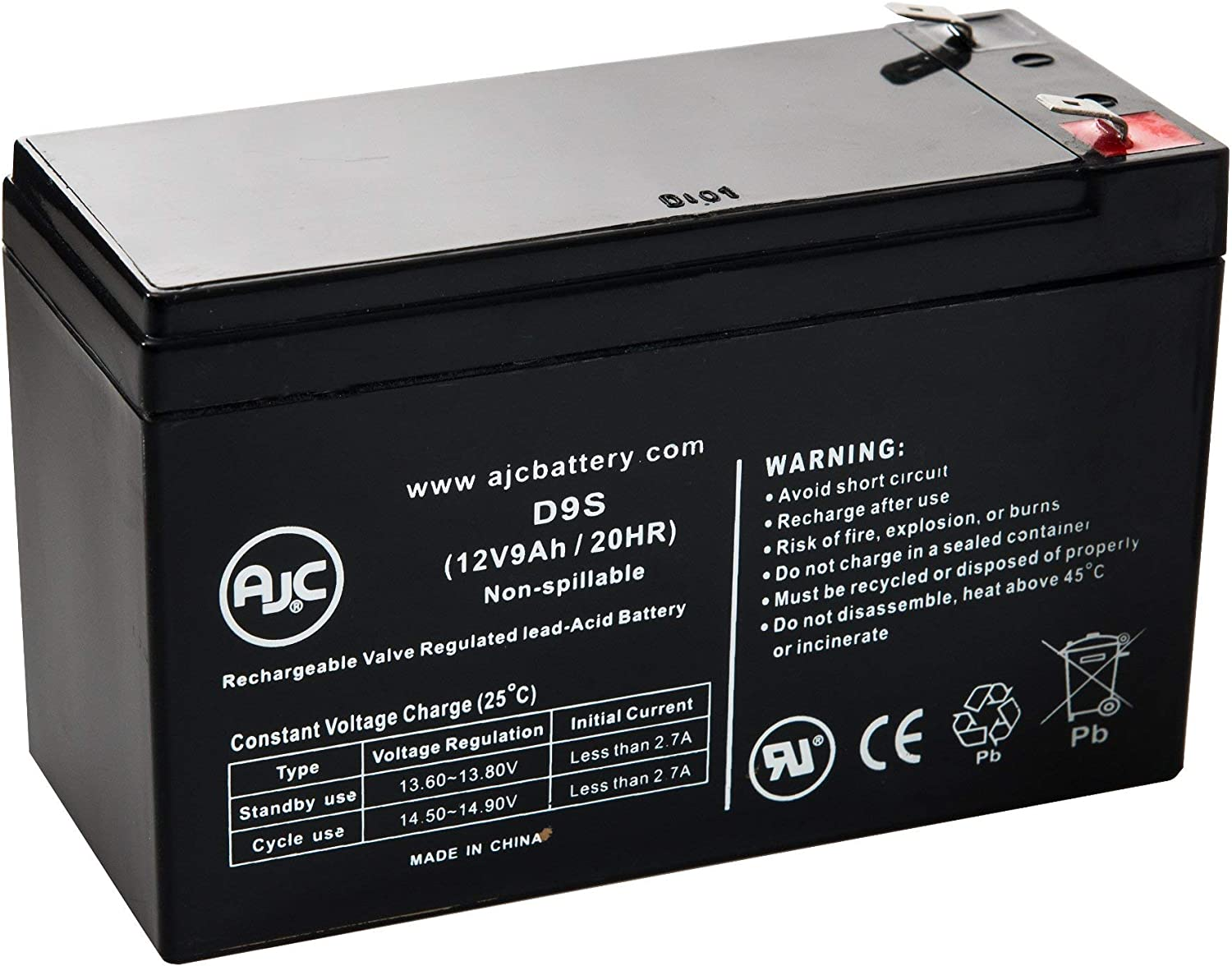 Geek Squad GS-875U 12V 9Ah UPS Battery This is an AJC Brand Replacement