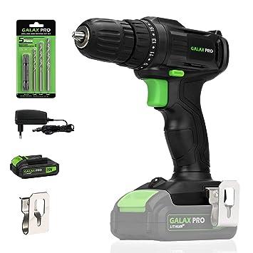 GALAX PRO Taladro Atornillador, 20V Batería 1.3Ah con Cargador, 19 + 1 Posiciones par Max 20 Nm, Luz de trabajo LED, Portabrocas de 10 mm/GP95604