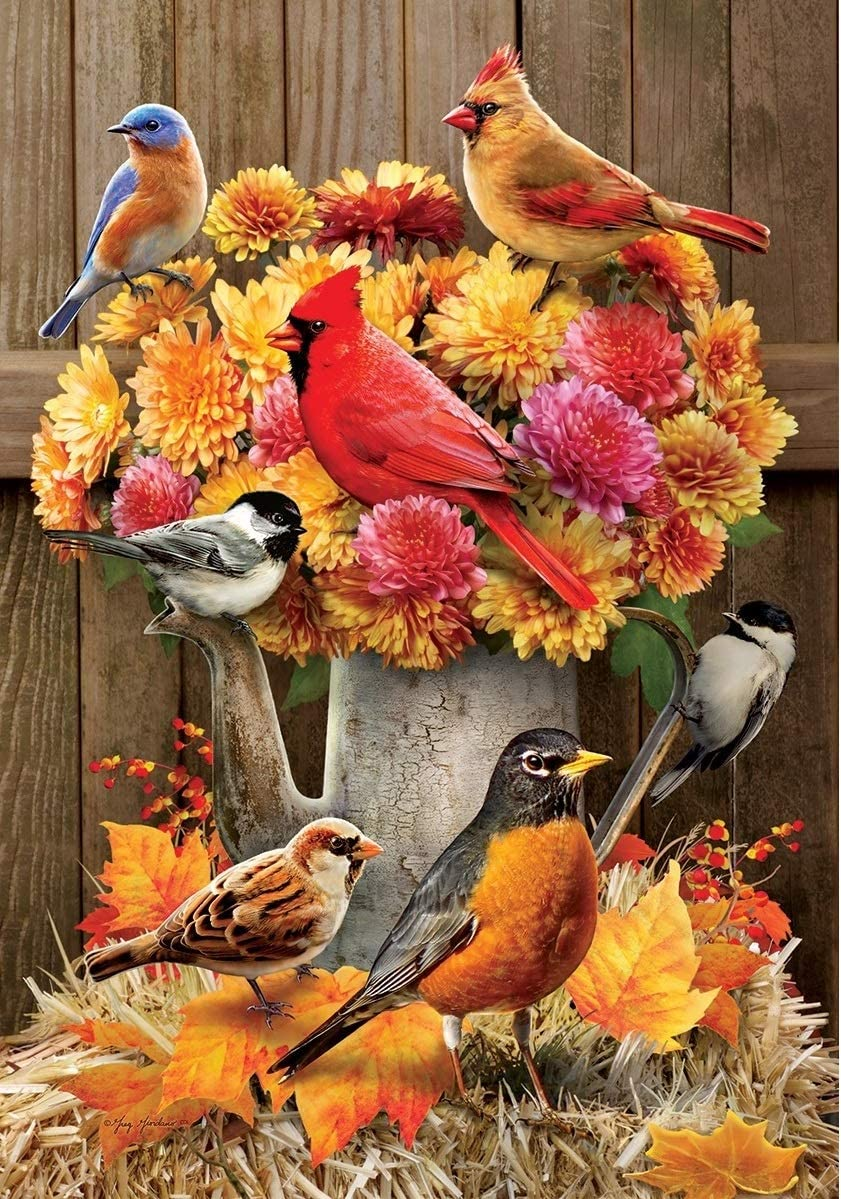 Mums & Birds - Garden Size, 12 Inch X 18 Inch, Decorative Double Sided Flag Printed in USA - Copyright and Licensed, Trademarked by Custom Décor Inc.