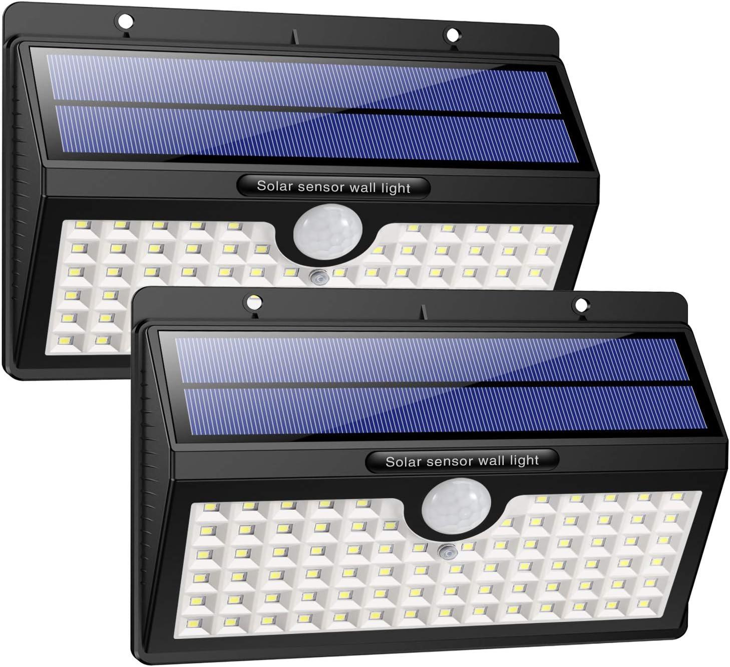 HETP Luz Solar/Foco Solar Exterior LED con Sensor de Movimiento 2000mAh Iluminación de Seguridad 2 Piezas Luces Solares/Lámpara Solar Exterior Inalámbrico Impermeable para Jardín, Garaje, Camino